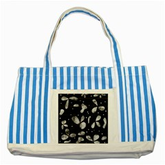 Black And White Floral Abstraction Striped Blue Tote Bag by Valentinaart