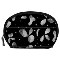 Black And White Floral Abstraction Accessory Pouches (large)  by Valentinaart