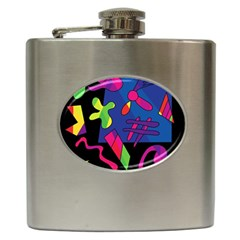 Colorful Shapes Hip Flask (6 Oz) by Valentinaart