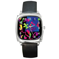 Colorful Shapes Square Metal Watch by Valentinaart