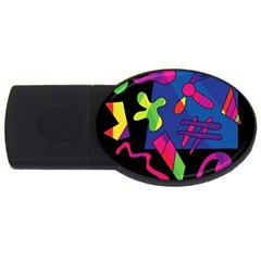 Colorful Shapes Usb Flash Drive Oval (4 Gb)  by Valentinaart