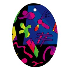Colorful Shapes Oval Ornament (two Sides) by Valentinaart