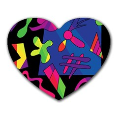 Colorful Shapes Heart Mousepads by Valentinaart