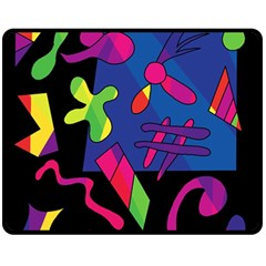 Colorful Shapes Double Sided Fleece Blanket (medium)  by Valentinaart