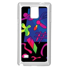 Colorful Shapes Samsung Galaxy Note 4 Case (white) by Valentinaart