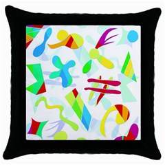 Playful Shapes Throw Pillow Case (black) by Valentinaart