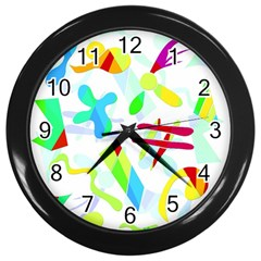 Playful Shapes Wall Clocks (black) by Valentinaart