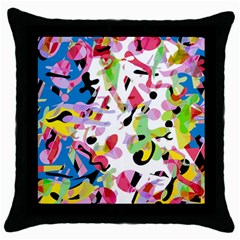 Colorful Pother Throw Pillow Case (black) by Valentinaart