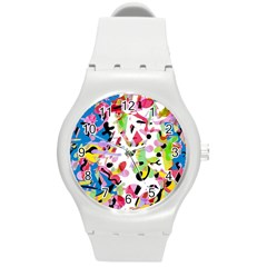 Colorful Pother Round Plastic Sport Watch (m)