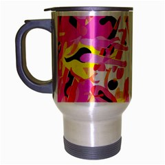 Pink Pother Travel Mug (silver Gray) by Valentinaart