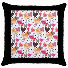 Colorful Cute Hearts Pattern Throw Pillow Case (black) by TastefulDesigns