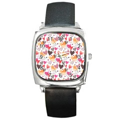 Colorful Cute Hearts Pattern Square Metal Watch by TastefulDesigns
