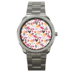 Colorful Cute Hearts Pattern Sport Metal Watch by TastefulDesigns