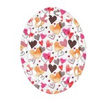 Colorful Cute Hearts Pattern Oval Filigree Ornament (2-Side)  Front