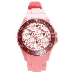 Colorful Cute Hearts Pattern Round Plastic Sport Watch (l) by TastefulDesigns