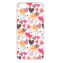 Colorful Cute Hearts Pattern Apple Iphone 5 Seamless Case (white) by TastefulDesigns