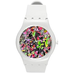 Playful Pother Round Plastic Sport Watch (m)