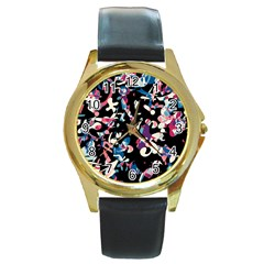 Creative Chaos Round Gold Metal Watch by Valentinaart