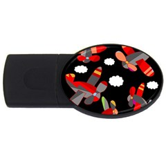 Playful Airplanes  Usb Flash Drive Oval (4 Gb)
