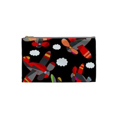 Playful Airplanes  Cosmetic Bag (small)  by Valentinaart