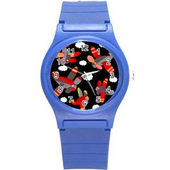 Playful Airplanes  Round Plastic Sport Watch (s)