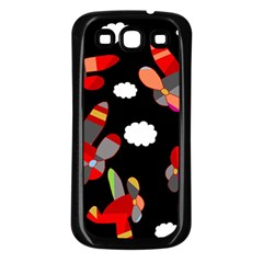 Playful Airplanes  Samsung Galaxy S3 Back Case (black) by Valentinaart