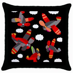 Playful Airplanes  Throw Pillow Case (black) by Valentinaart