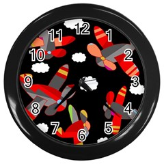 Playful Airplanes  Wall Clocks (black) by Valentinaart