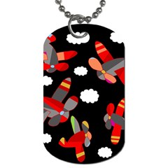 Playful Airplanes  Dog Tag (two Sides) by Valentinaart
