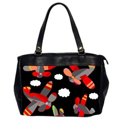 Playful Airplanes  Office Handbags (2 Sides)  by Valentinaart