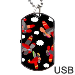 Playful Airplanes  Dog Tag Usb Flash (one Side) by Valentinaart