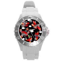Playful Airplanes  Round Plastic Sport Watch (l)