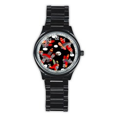 Playful Airplanes  Stainless Steel Round Watch by Valentinaart