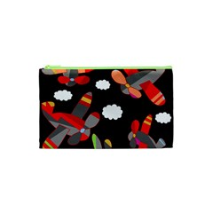 Playful Airplanes  Cosmetic Bag (xs) by Valentinaart
