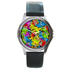 Colorful Airplanes Round Metal Watch by Valentinaart