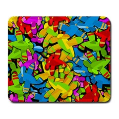 Colorful Airplanes Large Mousepads by Valentinaart