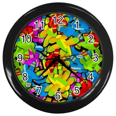 Colorful Airplanes Wall Clocks (black) by Valentinaart
