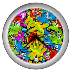 Colorful Airplanes Wall Clocks (silver)  by Valentinaart