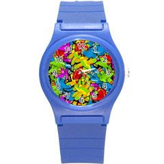 Colorful Airplanes Round Plastic Sport Watch (s) by Valentinaart