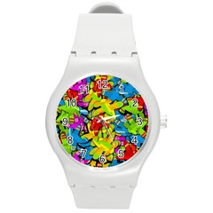 Colorful Airplanes Round Plastic Sport Watch (m) by Valentinaart