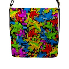 Colorful Airplanes Flap Messenger Bag (l)  by Valentinaart