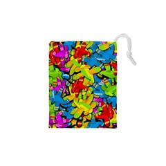 Colorful Airplanes Drawstring Pouches (xs)  by Valentinaart