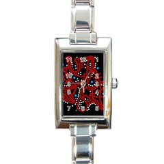 Red Fantasy 2 Rectangle Italian Charm Watch by Valentinaart