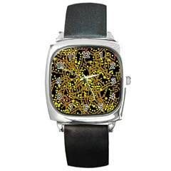 Yellow Emotions Square Metal Watch by Valentinaart