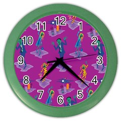 Zombie Pattern Color Wall Clocks by AnjaniArt