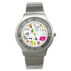 Animals Fruite Cake Lip Pattern Stainless Steel Watch