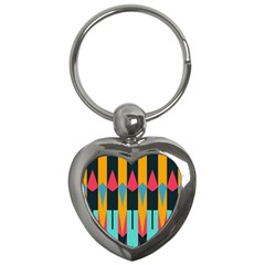 Shapes And Stripes                                                                                                             			key Chain (heart) by LalyLauraFLM