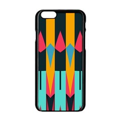 Shapes And Stripes                                                                                                            			apple Iphone 6/6s Black Enamel Case by LalyLauraFLM