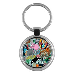 Alphabet Patterns Key Chains (round)