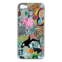 Alphabet Patterns Apple Iphone 5 Case (silver) by AnjaniArt